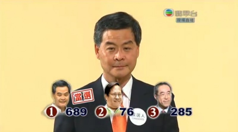 Hong Kong Chief Executive Leung Chun Ying was endorsed by 689 votes in the election committee in 2012. Photo from HKFP.