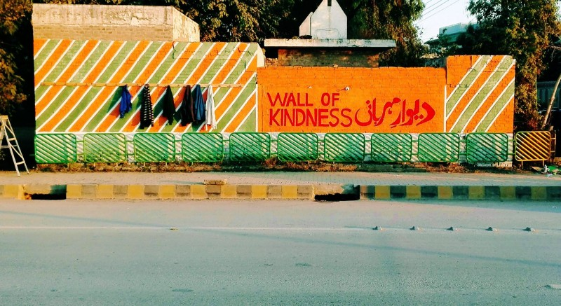 Wall of kindness in Peshawar. Photo by: Serve Mankind Facebook Page