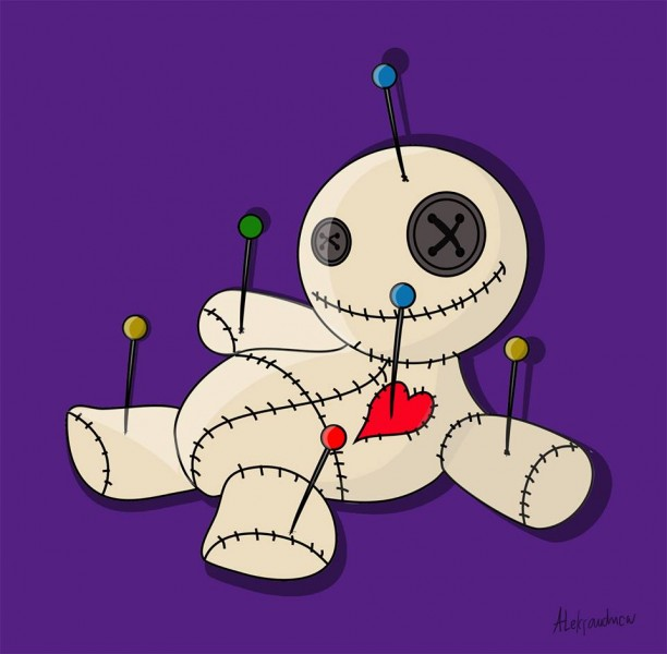 Topic: Voodoo dolls. Art by Aleksandra Tosman, used with permission.
