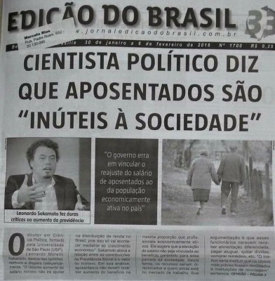 "Cover of the newspaper ""Edição do Brasil"" with the false declaration attributed to Sakamoto."