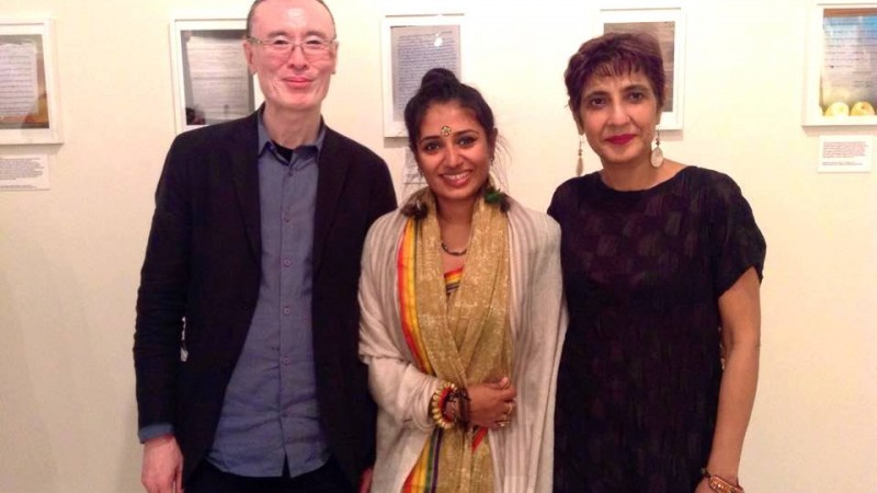 Filmmakers and artists Tenzing Sonam & Ritu Sarin at the Dhaka Art Summit with Wasfia Nazreen (middle). Image courtesy Wasfia Nazreen's Facebook page. 6 February, 2016