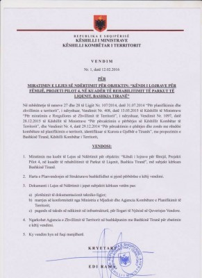 Prime Minister's decision changing the protected status of Tirana Lake Park.