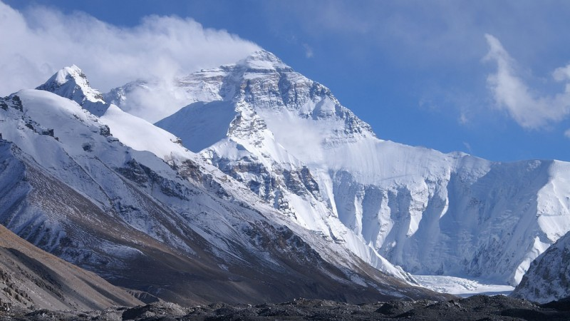 Mount Everest from base camp one. Image from Flickr by Rupert Taylor-Price CC BY 2.0