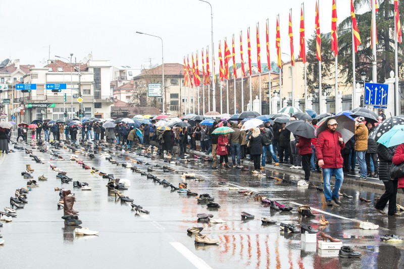 "Citizens' protest ""How many shoes remain unworn."" Photo by Vancho Dzhambaski (CC BC-NC-SA)"
