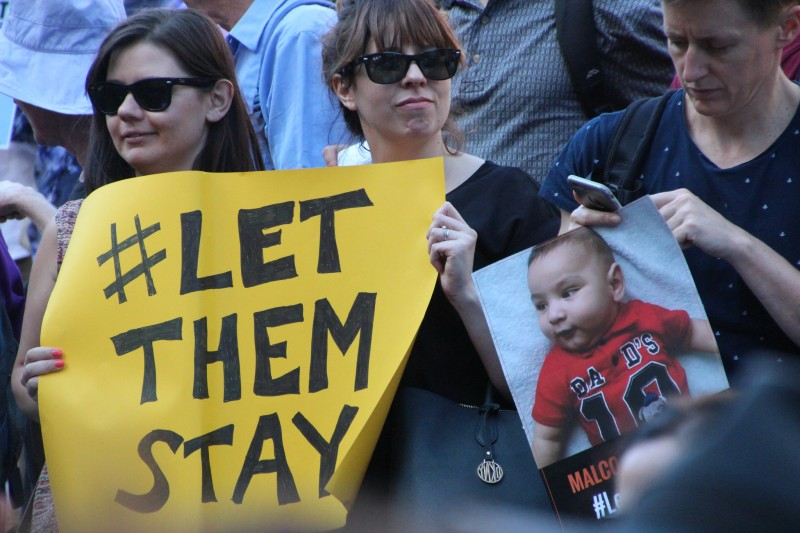 About six thousand people rallied in Melbourne for the Sanctuary call for the refugee families to #LetThemStay rather than be returned to Nauru. Photo from Flickr page of Takver (CC License)