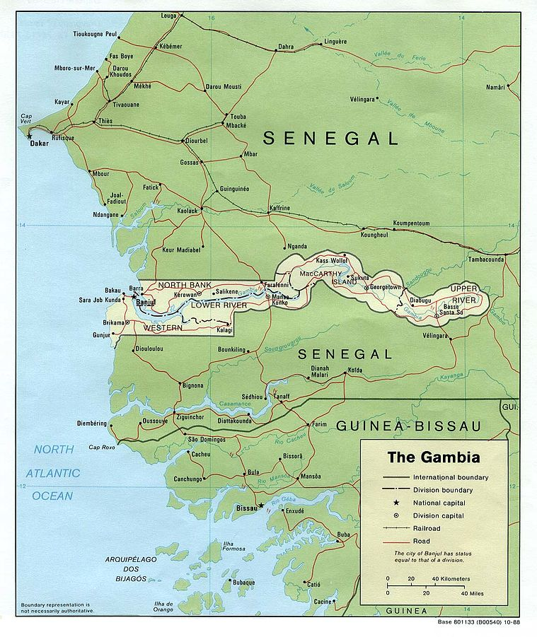 The Gambia is almost entirely surrounded by Senegal.