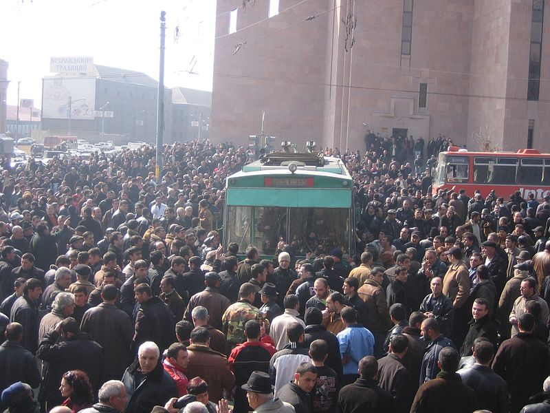 Protests at the 2008 presidential elections in Armenia. Wikipedia image taken by Serouj.