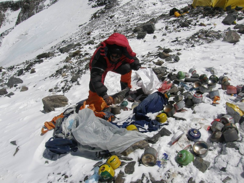 Collecting garbage at Camp 4. Used with permission.