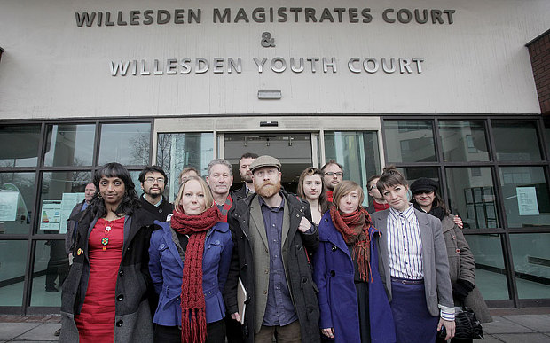 The 'Heathrow 13' outside Willesden Magistrates Court. Photo: Plane Stupid