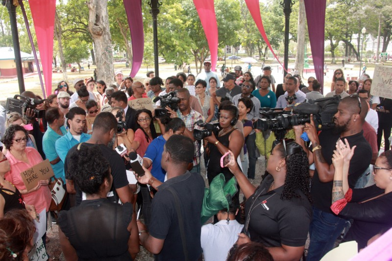 A cross section of the crowd of protestors at the march on Port of Spain City Hall, February 12, 2016. Photo courtesy Janine Mendes-Franco.