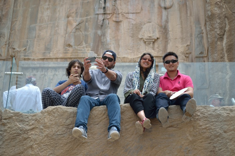 Sara Masry (second from the left) with her classmates at Takht-e Jamshid (Persepolis), outside Shiraz.