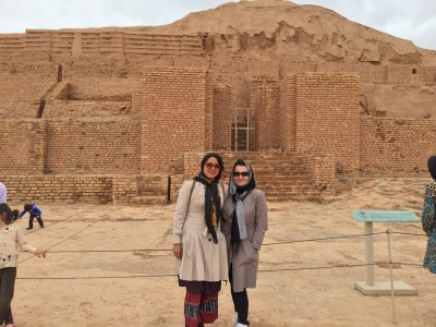 Sara Masry with her mother at the ancient Elamite 'Chogha Zanbil' complex in Khuzestan Province, Southern Iran.