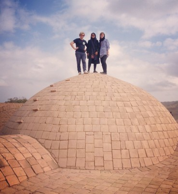 Sara Masry with her friends in 1000-year old mud-brick village of Kharanaq, Yazd.