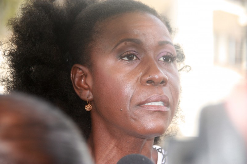 Former Trinidad and Tobago Minister of Justice, Christlyn Moore, who spoke at the rally.