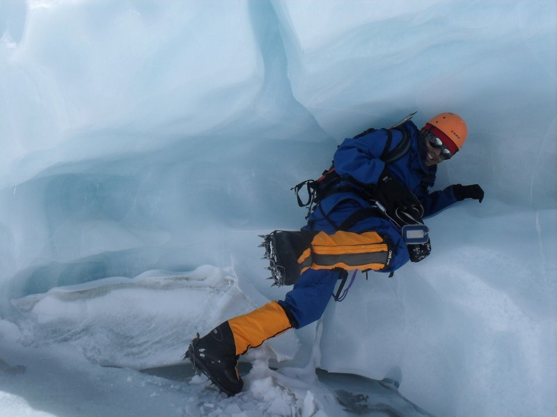 P K Sherpa poses for a picture at the Khumbu Icefall. Used with permission.