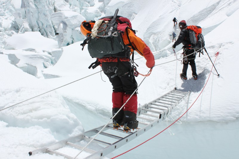 Climbers at the Khumbu Icefall. Used with permission.