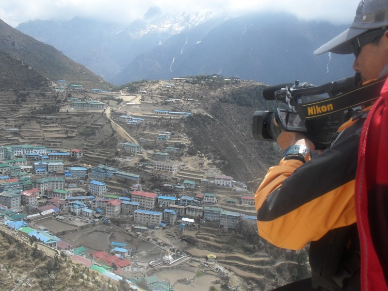 A bird's eye-view of Namche Bazaar. Used with permission.