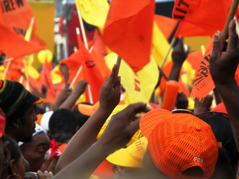 """""""Into the crowd"""" at a People's National Party political rally in Jamaica. Photo by Christina Xu, used under a CC BY-SA 2.0 license."""