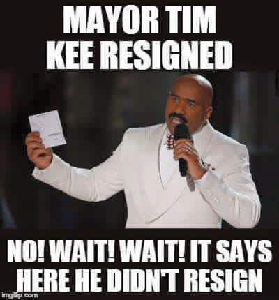 Meme about Mayor Raymond Tim Kee featuring Steve Harvey; widely shared on social media.
