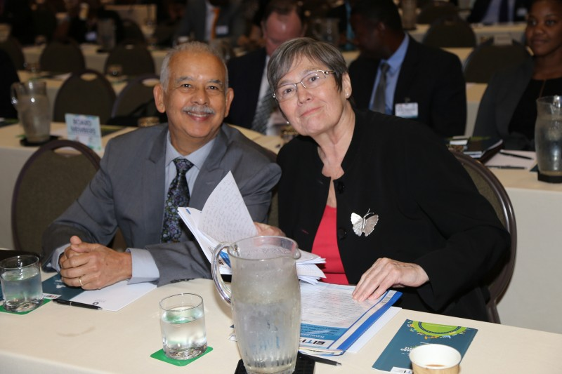 Clare Short, Chair of the EITI, with T&T EITI Steering Committee Chair, Victor Hart, at the energy conference. Photo by The EITI, used under a CC BY 2.0 license.