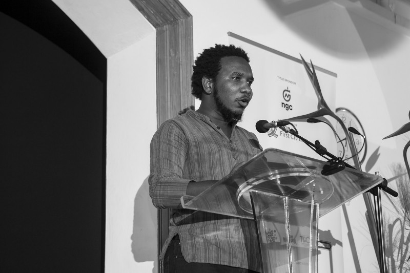Poet Vladimir Lucien at the NGC Bocas Lit Fest 2015. Photo courtesy the NGC Bocas Lit Fest, used with permission.