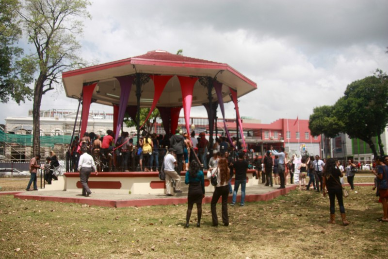 The bandstand at Woodford Square opposite the Port of Spain City Hall, where a crowd gathered in protest over Mayor Tim Kee's statements regarding the Carnival Tuesday death of a visiting steel pan player from Japan, Asami Nagakiya. All photos used in this post are courtesy the author.