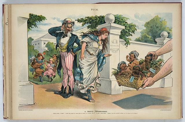 "Print shows Uncle Sam and Columbia standing at the entrance to the ""U.S. Foundling Asylum"" as a basket of crying children labeled ""Puerto Rico, Cuba, Hawaii, [and] Philippine"" is presented to them by arms labeled ""Manifest Destiny"". Within the walls of the asylum are four children labeled ""Texas, New Mexico, Cal. [and] Alaska"" playing together. 1898. Keppler, Udo J. Image and caption from the United States Library of Congress"