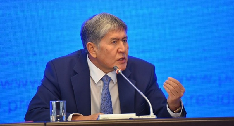 President of Kyrgyzstan Almazbek Atambayev during a press conference in December 2015