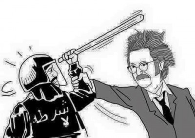 A cartoon that went viral featuring Medical syndicate chairman, Hussein khairy, beating a police officer.