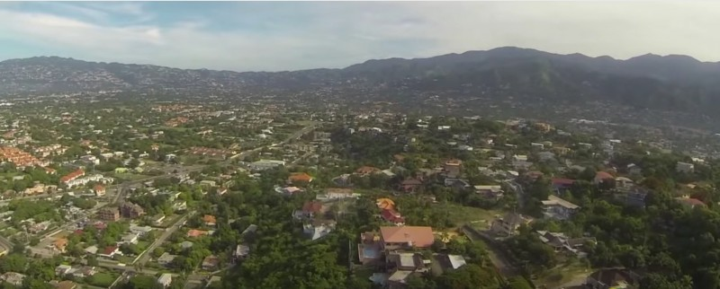 Screenshot of a drone image of Beverly Hills, the residential area in which Andrew Holness lives. Taken from Kingston Jamaica - Beverly Hills Aerial Video and uploaded to YouTube by Zomian Drone-maica Thompson.
