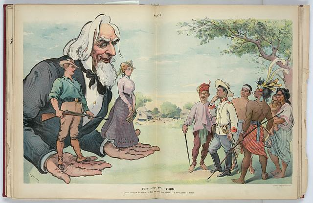 "Illustration shows Uncle Sam offering on one hand a soldier and on the other a ""School Teacher"" to a group of reluctant Filipinos, telling them that the choice is theirs. 1901. Keppler, Udo J. Image and caption from the United States Library of Congress"