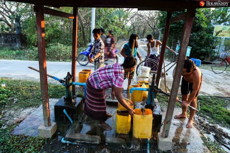 Community water pump in Dala. Photo by Pyay Kyaw / The Irrawaddy