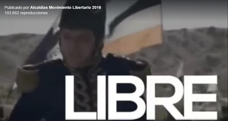 "A screenshot of the LMP's controversial video ad posted to their Facebook page. ""Libre"" means ""free"" in Spanish."