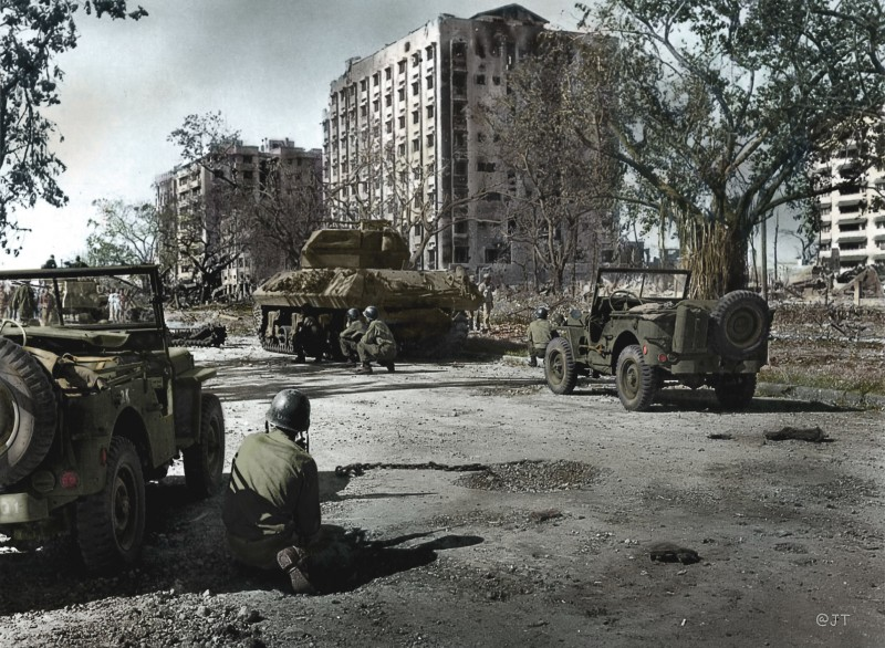 Colored photo of American soldiers during the Battle of Manila. Photo from the official gazette of the Philippine government