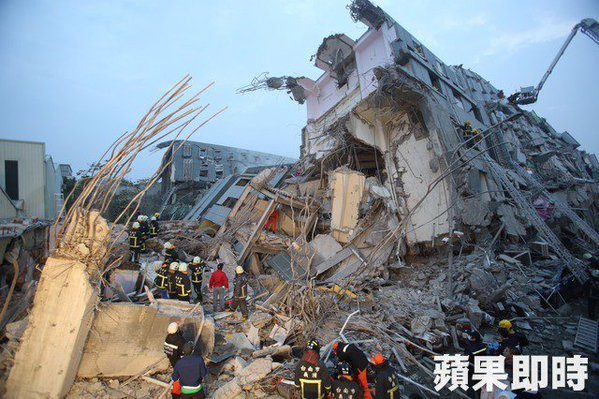 A 17-storey building collapsed during the 6.4 magnitude earthquake in Tainan on February 6. Photo from Apple Daily non-commercial use.