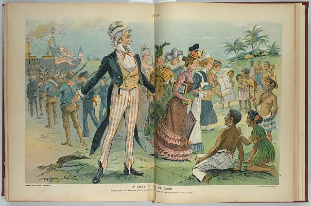 "Illustration shows Uncle Sam standing at center, gesturing to the left toward American soldiers boarding ships to return to America after defeating the Spanish in the Philippines, and gesturing to the right toward a group of matronly women, one labeled ""Daughters of the Revolution"", who have just arrived to educate the peoples of the Philippines. 1900. Ehrhart, S. D. (Samuel D.). Image and caption from the United States Library of Congress"