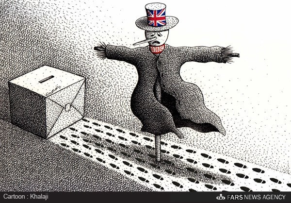 "Fars News cartoon, ""Old British scare tactics."""