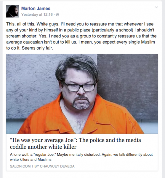 This post by Marlon James was removed by Facebook on February 25 on the grounds that it violated community standards. The post was reinstated the same day.