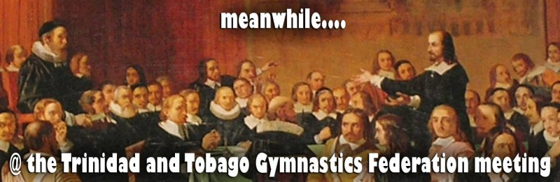 Meme criticising the perceived patriarchal stance of the Trinidad and Tobago Gymnastics Federation, widely shared on Facebook.