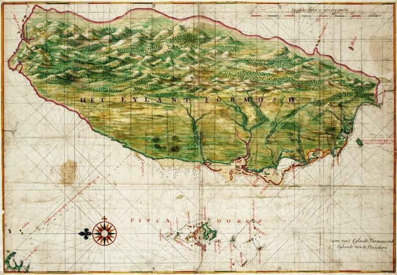 'The Island Formosa and the Pescadores', digambarkan oleh Johannes Vingboons sekitar tahun 1640. Formosa adalah nama yang diberikan pada Taiwan oleh para penjelajah Portugis yang menemukan pulau tersebut pada abad ke-16 | Wikipedia