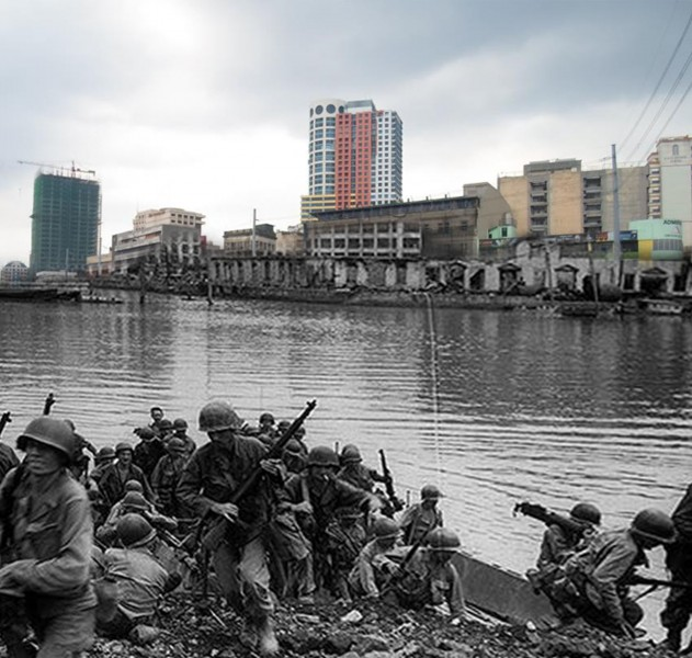 Superimposed photo of soldiers crossing the Pasig River and how it looks today. Photo from the official gazette of the Philippine government