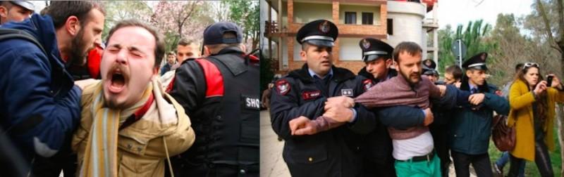 Police arresting protesters in Tirana Feb 21, 2015. Photo by Qytetarët Për Parkun, used with permission.