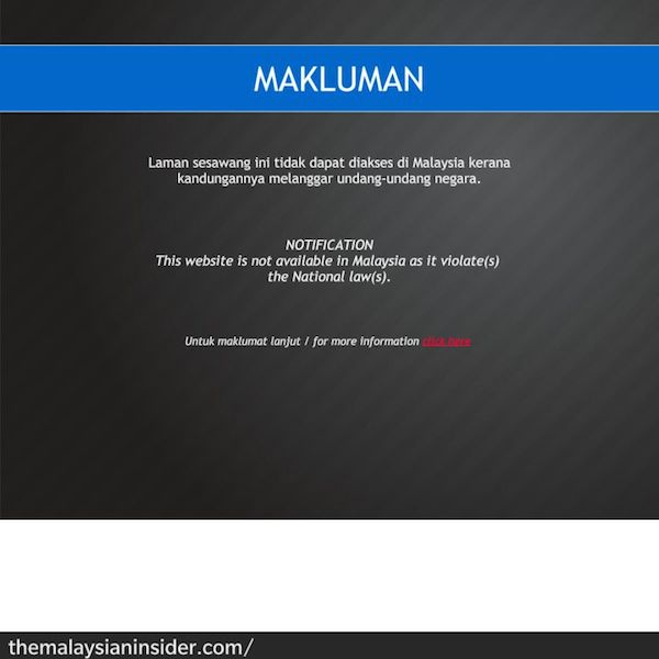 Screenshot of the blocked website of The Malaysian Insider