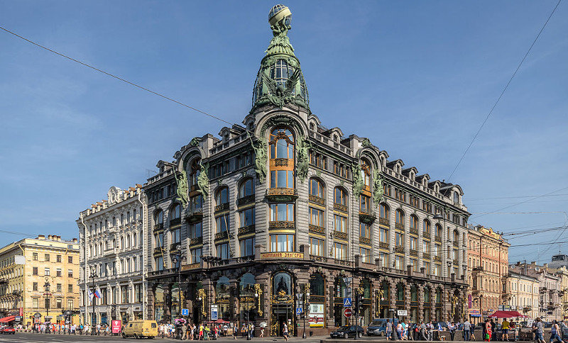 The headquarters of VK on Nevsky Avenue in Saint Petersburg (aka Singer House). Image from Wikimedia Commons.