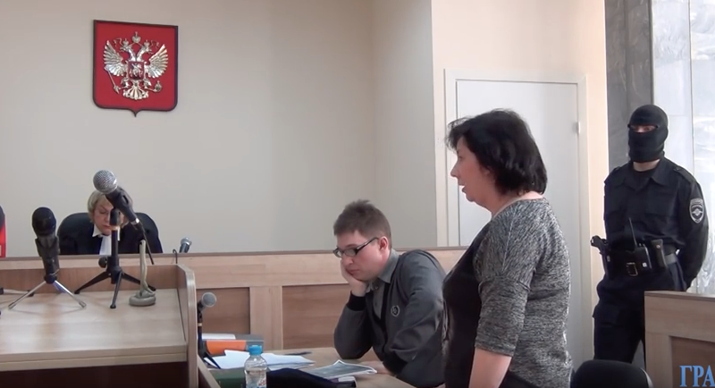 Yekaterina Vologzheninova, speaking in court on the day of her verdict, February 20, 2016. Screencap courtesy of Grani.ru.