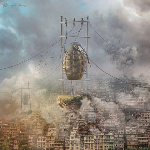 Explosive Aftermath (Dampak Ledakan). Karya seni Ashim Shakya. Digunakan lewat izin.
