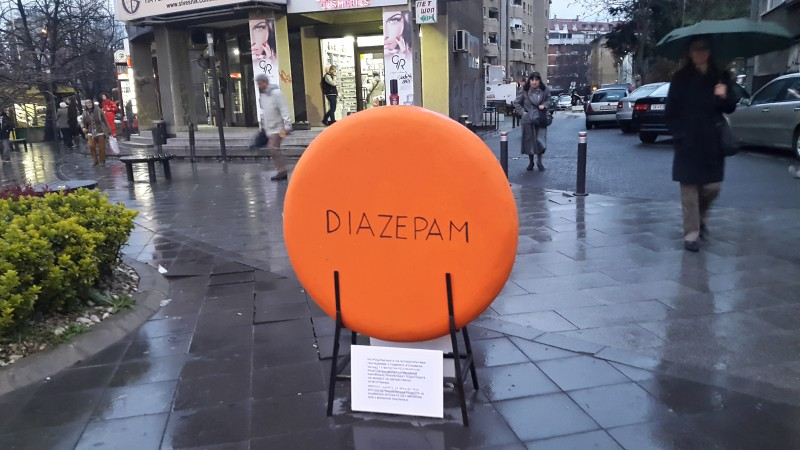 Monument to Diazepam in Skopje, Macedonia. Photo by F. Stojanovski CC BY.