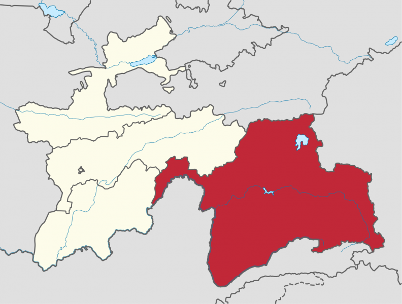 Gorno-Badakhshan Autonomous Oblast (GBAO) marked in red. Tajikistan borders Afghanistan to the South, China to the East, Kyrgyzstan to the North and Uzbekistan to the West. Wikipedia image.