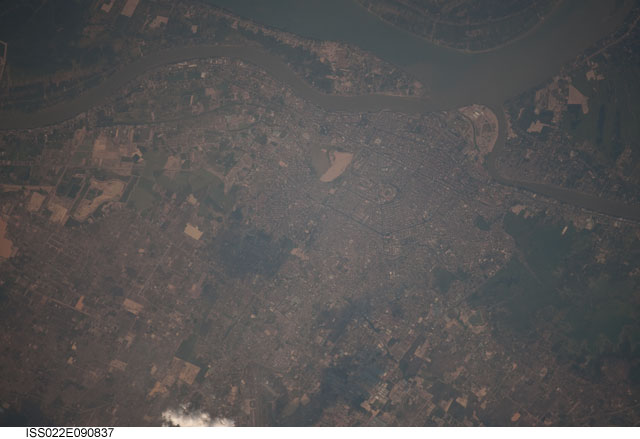 The Mekong River runs through Phnom Penh. Cambodia. Image courtesy of the Earth Science and Remote Sensing Unit, NASA Johnson Space Center