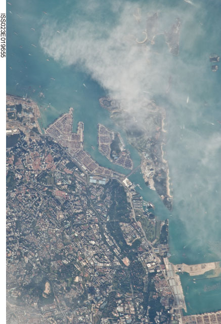 Selat Pandan and Sentosa Island. Singapore. Image courtesy of the Earth Science and Remote Sensing Unit, NASA Johnson Space Center